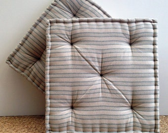 Handmade Box Cushion, Susie Watson Ticking Stripe, Sail Blue/Beech, Tufted, French Mattress, Bench/Seat/Window/Floor Cushion, Day Bed