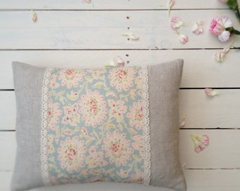 Handmade Antoinette Cushion, Sarah Hardaker Linen, Cotton Lace Trim Panel, Vintage Inspired, Floral Print, Duck Egg and Pink, Girls Room