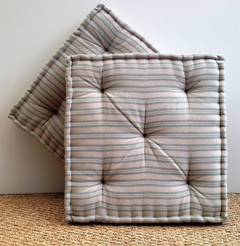 Handmade Box Cushion Susie Watson Ticking Stripe Sail