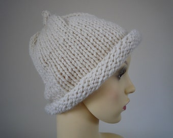Cream hand knit hat, wool and alpaca