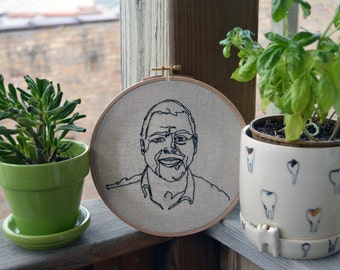 Custom Embroidered Portrait // Contour Drawing