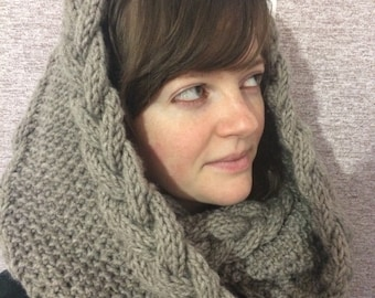 Chunky Infinity Scarf - Circle Scarf -Hooded Cowl - Loop Scarf - Knitted Infinity Scarf - Knit Cowl