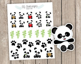 Panda Planner Stickers, Panda Planner Stickers, Planner Stickers, Functional Stickers, ECLP, Filofax,  Kikki K, Functional