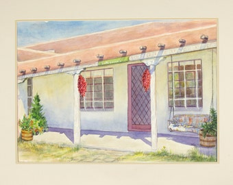 ORIGINAL painting, watercolor, southwest, hacienda, house, gift art  18x24 /mounted 22x28