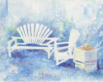 ORIGINAL painting, watercolor, signed, outdoor wooden bench and chairs, garden, still life, gift art, 18x24/mounted 22x28
