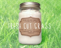 Fresh Cut Grass 16oz Scented Candle, Spring Candle, Summer candle, Mason Jar Candle, Strong Scented Candles, Grass Candle, Gift for mom