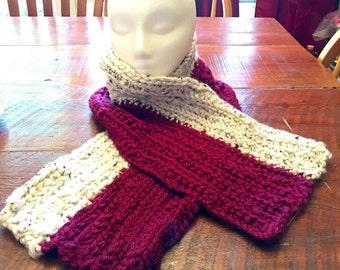 Crochet gender neutral scarf.