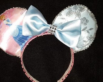 Princess Cinderella II Ears with Pink Backing Disney Inspired Ears