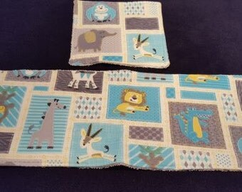 Animal Burp and Wash Cloth Set With Terrycloth Backing