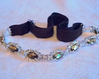 Dark Brown Headband With Amber Colored Jewelry