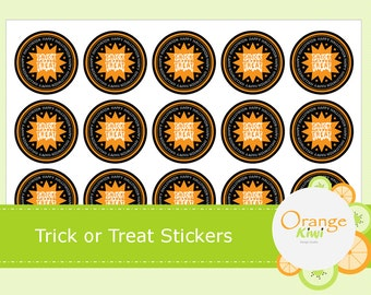 Trick or Treat Halloween Stickers - Treat Bag Stickers - Halloween Party Favor Stickers - Halloween Planner Stickers - Halloween Stickers