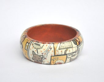 Cookie Cat design: Wooden Decoupage Bangle