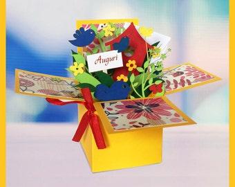 Greeting/happy birthday/pop up card/box/greeting card/3D/birthday card/birthday/mother