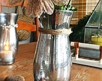 hand decorated mercury glass vase/candle holder