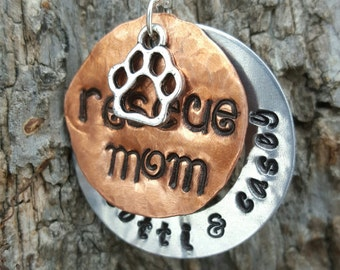 """Custom """"Rescue Mom"""" Silver and Copper Hand Stamped Necklace"""