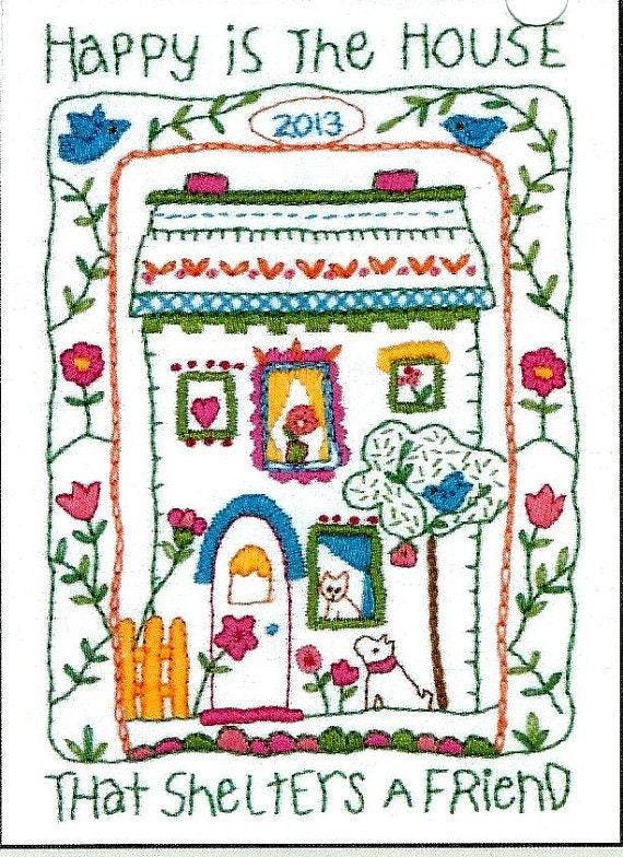 Crewel embroidery kit sale house sampler by whatcamesecond