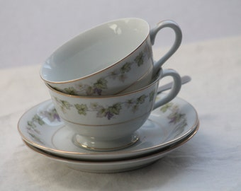 Vintage Moselle #3545 Grape Pattern Cup and Saucer with gold trim, 2 sets