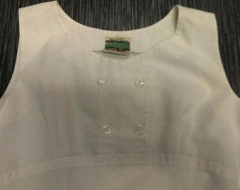 1960's Centre Court Tennis Dress Vintage Mod Perfit White Linen Size Medium Wimbledon Made in England