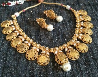 10% off laxmiji mukh coin choker style necklace & earring set, Ethnic Gold necklace set, Pearl necklace, South Indian jewelry