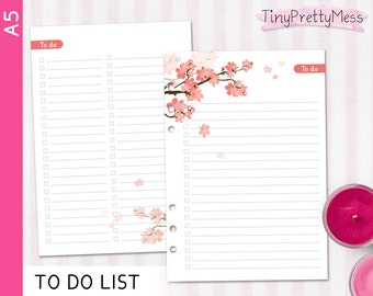Printable A5 TO DO List Inserts for planner Filofax A5, Kikki K Large - PDF lined and blank - Cherry Blossom Design Peach