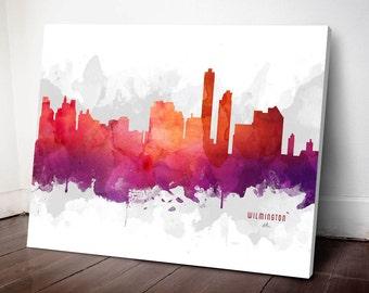 Wilmington Skyline Canvas,  Wilmington Print, Wilmington Art, Wilmington Gift, Wilmington Cityscape, MMR-USDEWI04C