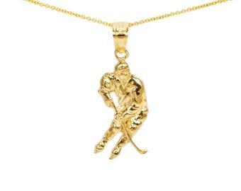 10k Gold Hockey Charms for Charm Bracelet, 10k Gold Hockey Necklace, Small Gold Necklace, 10k Gold Hockey Pendant for Pendant Necklace