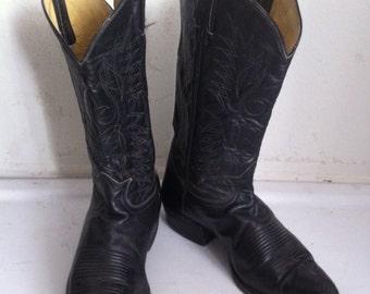Black vintage western cowboy boots, men's size 10 1/2 D.