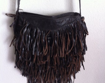 Real crossbody bag handmade bag, soft & genuine leather with elements of fashionable leather fringe new women's dark brown color size-small.
