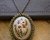 Large Coneflower Fields Hand Embroidered Necklace