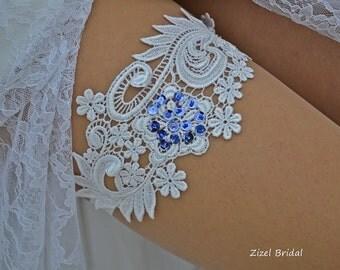 White Wedding Garter, Bridal Garter, Wedding Garter Set, Blue Pearl Garter, Sequins Garter, White Lace Garter, Handmade Garter, Blue Garter