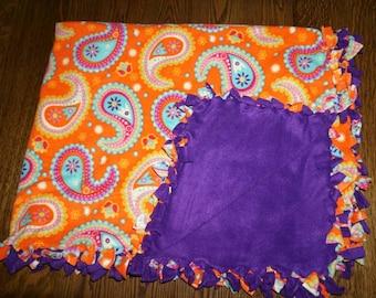 Purple and Orange Paisley throw blanket!!