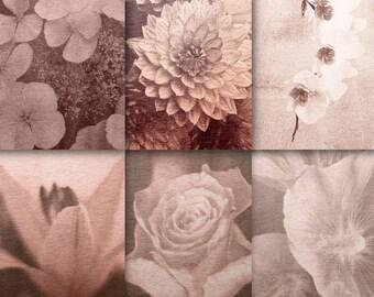 Vintage flower-background, digital | Paper Scrapbook | rustic, download | background paper pack | scrapbook | Clip Art | Pergament grunge