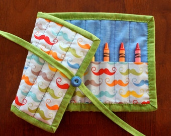 Mustache Crayon Roll, Blue Crayon Roll Up, Crayon Holder, Boy Crayon Tote, Geekly Chic, Crayon Roll, Boy, Blue, Green, Mustache, Crafts