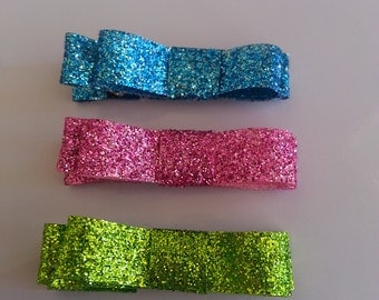 Glitter Bow - Small - Alligator Clip - Hair Clips -Baby Hair Clip- Toddler Hair Clips
