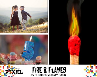 FIRE AND FLAMES Photoshop Overlays, Fire Overlays, Flame Overlays, Light Overlays, 35 jpg image pack.