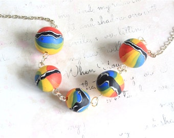 Rainbow necklace - Handmade clay necklace - Beaded necklace - Rainbow beads - Rainbow necklace - Bright necklace - Hippy necklace