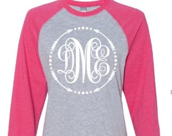 Monogrammed Raglan baseball t-shirt, personalized shirt, custom shirt, initials, made by Enid and Elle