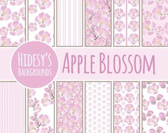 """Floral Digital Paper / Background / Pattern """"APPLE BLOSSOM"""""""