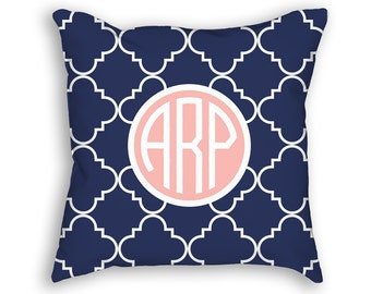 """Circle Monogram Custom Throw Pillow, Navy Blue and blush with white Ogee Pattern, Decorative Pillow 18""""x18"""""""