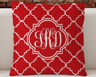 """Personalized Monogram Custom Throw Pillow, Red Ogee Pattern with monogram, Decorative Pillow 18""""x18"""""""