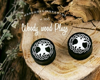 The tree of Life ear plugs - ear guges - plugs ebonite - fractal plugs - custom plugs - etching plugs - organic ear plugs - plugs wood