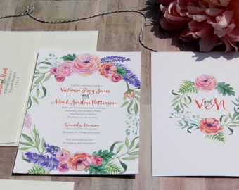 Floral Wreath Wedding Invitation Sample