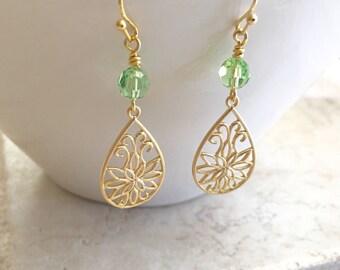 Peridot Gold Lotus Blossom Teardrop Earrings Peridot Crystal Earrings Lotus Blossom Earrings August Birthstone August Boho Birthstone Drops