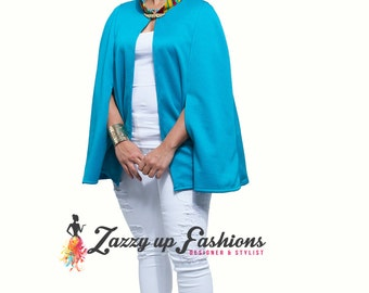 Fashion Cape with Kente fabric nect style