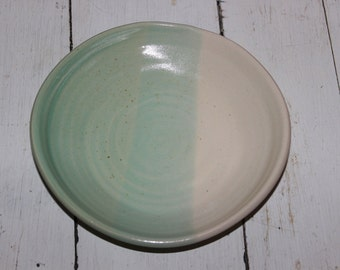 green and white ceramic plate