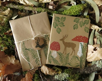 Perfect gift nature lovers-art moleskine- journal-gift animal lovers-eco friendly stationery-deer-ferns-amanitas-perfect mori girls gift-