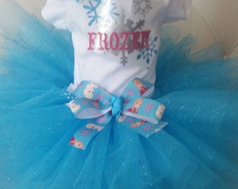 Frozen Inspired Tutu Costume, Frozen Tutu Costume, Elsa Tutu, Onesie, and Hairbow in Sizes 3- 24 Month