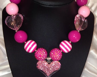 Valentine's pink heart bubble gum necklace