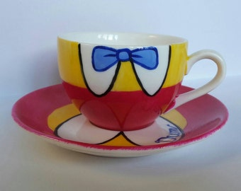 Hand Painted Tweedle Dum porcelain cup (175ml) and saucer (14.5cm) , inspired by Disney Alice in Wonderland