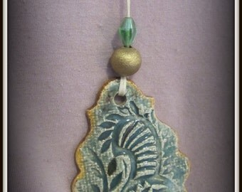 107Handmade ceramic necklace pendant, Wearable art, Hand Painted Pendant Necklace, Unique handmade Gift